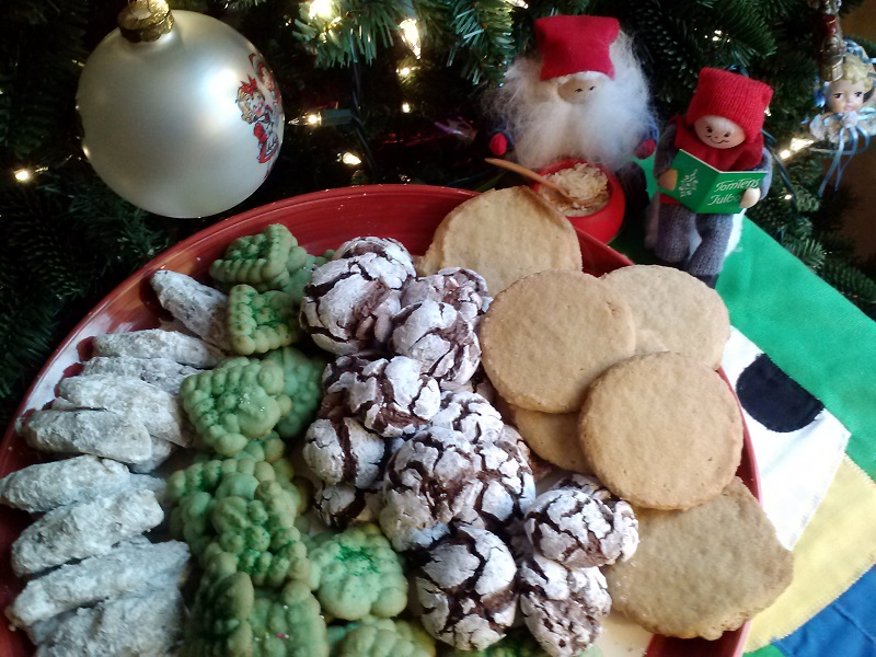 Pecan Fingers, Christmas Trees, Chocolate Crinkles and Sugar Cookies by the tree - Copy