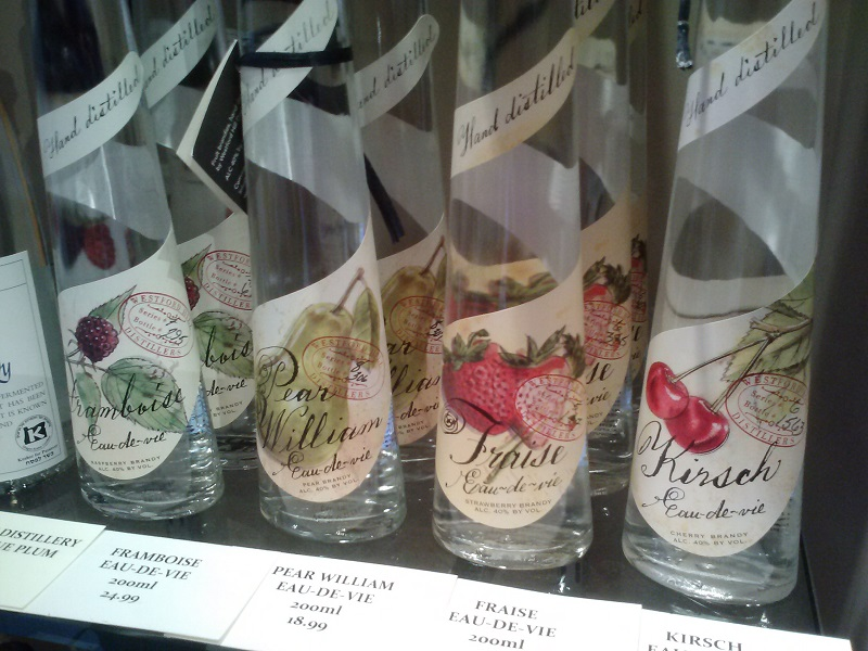 Fruit brandies on display at New Canaan Wine Merchants