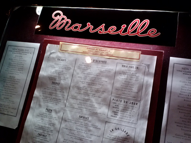 Marseille outside menu stand