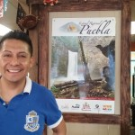 Chef Juan with a poster from his home town of Puebla