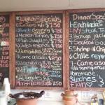 The speicials board at Los Poblanos