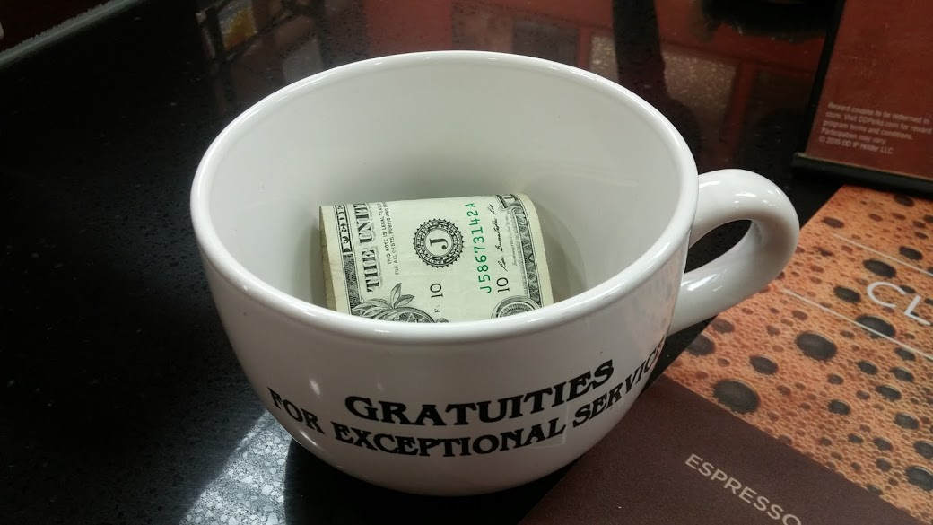 Coffee shop tip mug