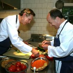 Chef Thomas Keller and Producer Brad Lewis prepare for Ratatouille