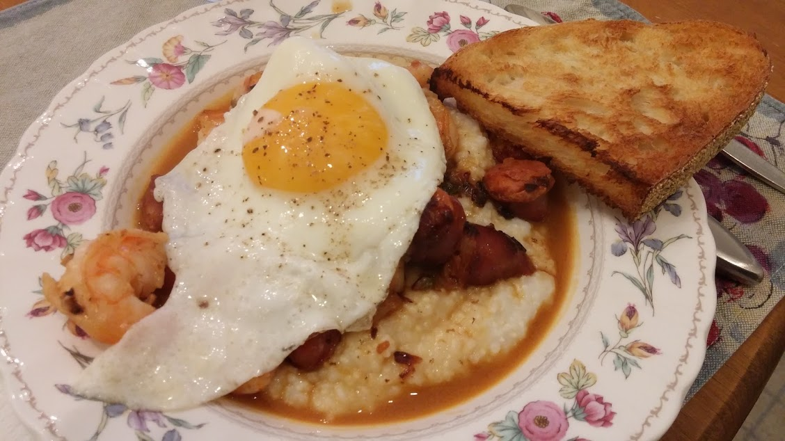 Shrimp and grits toped with a fried egg.