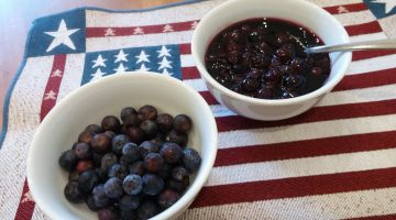 Fresh blueberries and blueberry sauce.