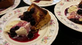 Grilled pound cake with blueberry sauce.