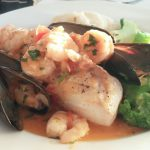 Mahi Mahi with mussels and shrimp at the Sunset Grill