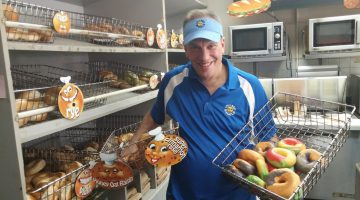 Darren Monaco shows his wares at Village Bagels