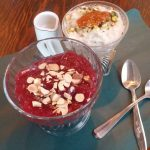 Cranberry kissel and brown rice pudding