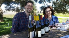 Jason and Marsha tasting Morgan wines