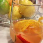 A glass of rose sangria