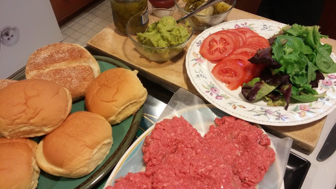 All the fixins for a hamburger dinner