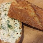 Herb mayo on a baguette ready for grilling
