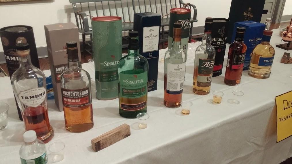 Singla malt scotch lined up for tasting