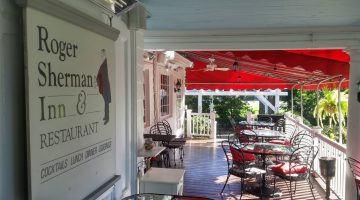 Seating on the veranda at the Roger Sherman