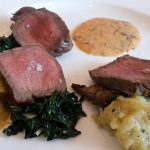 Strip steak with squash, Kale and sauce choron