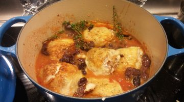 Braised Chicken with tomato, capers, and olives
