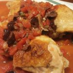 Chicken with tomato, olives and capers