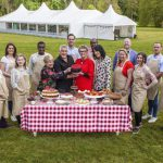 Contestants in front of the baking tent