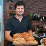 Zoltan Bona of Cafe Dolce with his croissants