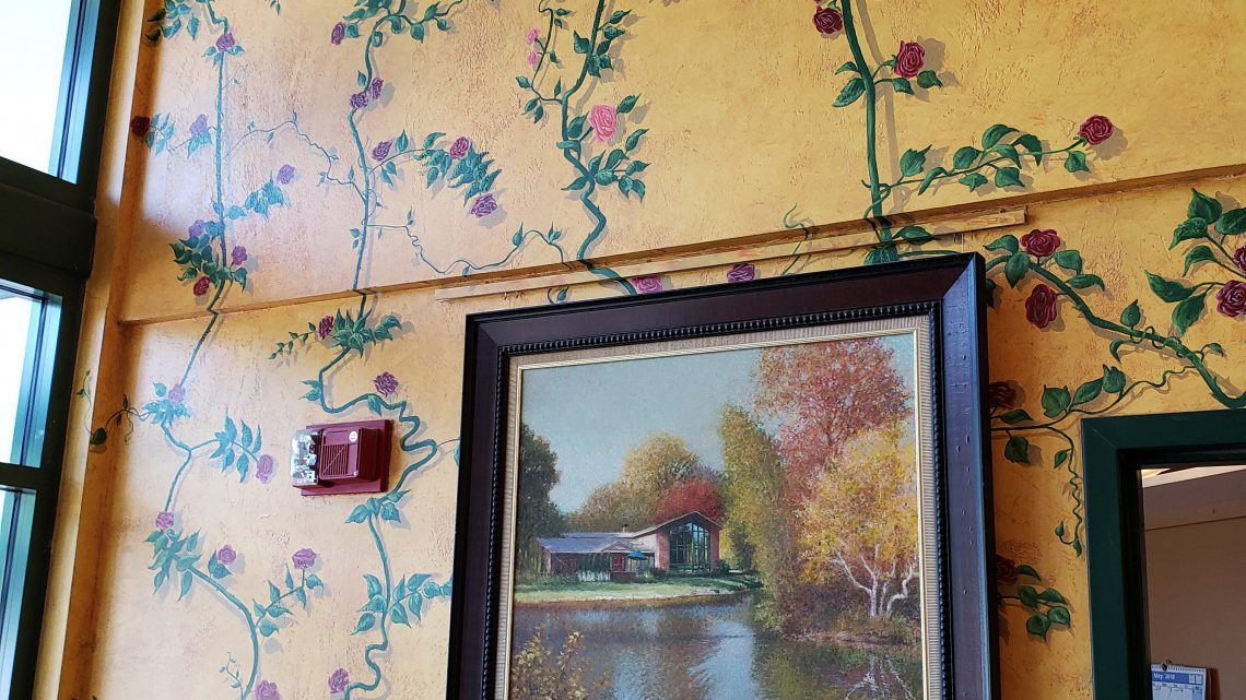 5. The two story painted vine in the Pond House entrance. Look for the hidden face.
