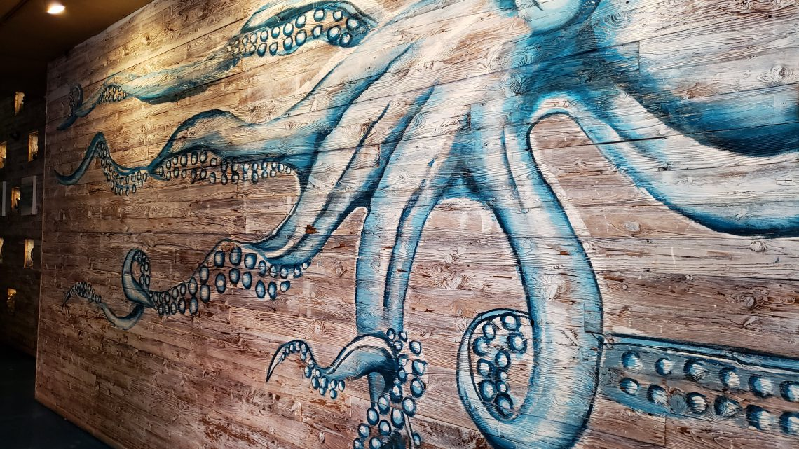 1. An octopus points the way to the dining room at the Saltwater Grill