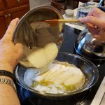 Pour the batter over the melted butter