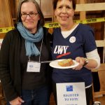 Kristen Hoyt and Mry Oster of the Norwalk League of Women Voters