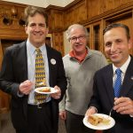 RepresentativeChris Perone and Senator Bob Duff enjoy a slice of Hartford Election Cake with Frank Whitman