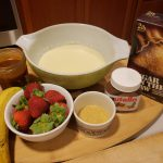 The makings for desset crepes at home